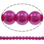 Pjekje llak Glass Beads, Xham, Round, stoving llak, asnjë, fuchsia, 8mm, : 1mm, : 31.5Inç, 10Fillesat/Qese, approx110Pcs/Strand,  Qese