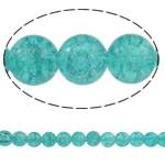 Glass Beads kërcitje, Xham, Round, asnjë, bruz blu, 10mm, : 1.5mm, : 31.5Inç, 10Fillesat/Qese, approx83Pcs/Strand,  Qese