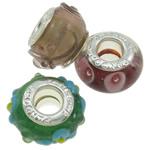Lampwork Style European, Rondelle, punuar me dorë, core bronzi të dyfishtë pa karrem, ngjyra të përziera, 13x7-14.5x8.5mm, : 5mm, 100PC/Qese,  Qese