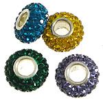 Tunxh Beads European, with Argjilë & Diamant i rremë, Rondelle, ngjyrë platin praruar, core bronzi vetme pa karrem, ngjyra të përziera, , nikel çojë \x26amp; kadmium falas, 7x14mm, : 5mm, 50PC/Qese,  Qese