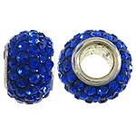 Tunxh Beads European, with Argjilë & Diamant i rremë, Rondelle, ngjyrë platin praruar, core bronzi vetme pa karrem, ngjyra të përziera, , nikel çojë \x26amp; kadmium falas, 7x11mm, : 4.5mm, 50PC/Qese,  Qese