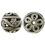 Beads aliazh zink Hollow, Alloy zink, Round, Ngjyra antike argjendi praruar, i uritur, asnjë, , nikel çojë \x26amp; kadmium falas, 14mm, : 2mm, 200PC/Qese,  Qese