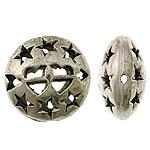 Beads aliazh zink Hollow, Alloy zink, Round Flat, Ngjyra antike argjendi praruar, i uritur, asnjë, , nikel çojë \x26amp; kadmium falas, 16x16x9mm, : 1.5mm, 200PC/Qese,  Qese