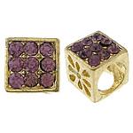 Alloy zink Beads diamant i rremë, Kub, ngjyrë ari praruar, me diamant i rremë & i uritur, asnjë, , nikel çojë \x26amp; kadmium falas, 10x10x10mm, : 7mm, 6mm, 100PC/Qese,  Qese