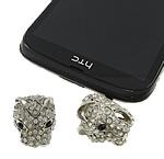 Pluhuri kufje Jack Cap priza, Alloy zink, with Plastik, Qen, ngjyrë platin praruar, me diamant i rremë, e bardhë, , nikel çojë \x26amp; kadmium falas, 18x22x14mm, 27mm, 30PC/Qese,  Qese