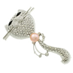 Freshwater Pearl Brooch, Cat, with rhinestone & zinc alloy setting & pin, platinum color plated, more colors for choice, 47x80x18mm, Sold by PC