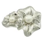 Pearl ujërave të ëmbla karficë, Pearl kulturuar ujërave të ëmbla, with Alloy zink, Lule, ngjyrë platin praruar, me diamant i rremë, asnjë, 54x44x15mm,  PC