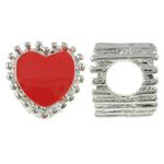 Beads European aliazh zink, Alloy zink, Zemër, Ngjyra argjend praruar, pa karrem & smalt, i kuq, , nikel çojë \x26amp; kadmium falas, 10x11x9mm, : 5mm, 10PC/Qese,  Qese