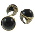 Zinklegierung Fingerring , mit Harz, antike Bronzefarbe plattiert, frei von Nickel, Blei & Kadmium, 27.50x27x32.50mm, Bohrung:ca. 18mm, Größe:8, 12PCs/Tasche, verkauft von Tasche