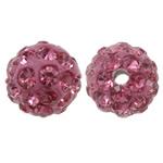 Diamant i rremë balta Beads hapë, Argjilë, Round, asnjë, me diamant i rremë, Trëndafil, 8mm, : 1.5mm, 50PC/Qese,  Qese