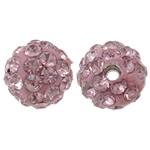 Strass Ton befestigte Perlen, rund, mit Strass, helles Rosa, 8mm, Bohrung:ca. 1.5mm, 50PCs/Tasche, verkauft von Tasche