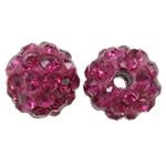 Diamant i rremë balta Beads hapë, Argjilë, Round, asnjë, me diamant i rremë, fuchsia, 8mm, : 1.5mm, 50PC/Qese,  Qese