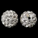 Diamant i rremë balta Beads hapë, Argjilë, Round, asnjë, me diamant i rremë, e bardhë, 12mm, : 2mm, 50PC/Qese,  Qese