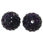 Diamant i rremë balta Beads hapë, Argjilë, Round, asnjë, me diamant i rremë, vjollcë e errët, 12mm, : 2mm, 50PC/Qese,  Qese