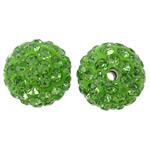 Diamant i rremë balta Beads hapë, Argjilë, Round, asnjë, me diamant i rremë, e gjelbër, 12mm, : 2mm, 50PC/Qese,  Qese