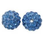 Diamant i rremë balta Beads hapë, Argjilë, Round, asnjë, me diamant i rremë, dritë blu, 12mm, : 2mm, 50PC/Qese,  Qese