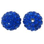 Diamant i rremë balta Beads hapë, Argjilë, Round, asnjë, me diamant i rremë, blu të errët, 12mm, : 2mm, 50PC/Qese,  Qese