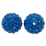 Diamant i rremë balta Beads hapë, Argjilë, Round, asnjë, me diamant i rremë, blu, 12mm, : 2mm, 50PC/Qese,  Qese
