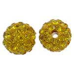 Diamant i rremë balta Beads hapë, Argjilë, Round, asnjë, me diamant i rremë, të verdhë të artë, 10mm, : 1.5mm, 50PC/Qese,  Qese