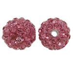 Diamant i rremë balta Beads hapë, Argjilë, Round, asnjë, me diamant i rremë, dritë e kuqe, 10mm, : 1.5mm, 50PC/Qese,  Qese