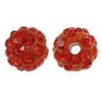 Strass Ton befestigte Perlen, rund, mit Strass, rote Orange, 8mm, Bohrung:ca. 1.5mm, 50PCs/Tasche, verkauft von Tasche