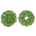 Diamant i rremë balta Beads hapë, Argjilë, Round, asnjë, me diamant i rremë, drita e gjelbër, 8mm, : 1.5mm, 50PC/Qese,  Qese