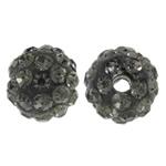 Diamant i rremë balta Beads hapë, Argjilë, Round, asnjë, me diamant i rremë, Greige, 8mm, : 1.5mm, 50PC/Qese,  Qese