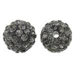 Diamant i rremë balta Beads hapë, Argjilë, Round, asnjë, me diamant i rremë, gri, 10mm, : 2mm, 50PC/Qese,  Qese