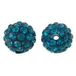 Diamant i rremë balta Beads hapë, Argjilë, Round, asnjë, me diamant i rremë, bruz blu, 10mm, : 2mm, 50PC/Qese,  Qese