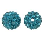 Diamant i rremë balta Beads hapë, Argjilë, Round, asnjë, me diamant i rremë, acid blu, 10mm, : 2mm, 50PC/Qese,  Qese