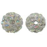 Diamant i rremë balta Beads hapë, Argjilë, Round, Ngjyra AB kromuar, me diamant i rremë, e bardhë, 10mm, : 2mm, 50PC/Qese,  Qese