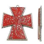 Alloy zink Pendants Kryqi, with Rrëshirë, Ngjyra antike argjendi praruar, asnjë, i kuq, , nikel çojë \x26amp; kadmium falas, 66x82x7.50mm, : 4mm, 10PC/Qese,  Qese