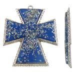 Alloy zink Pendants Kryqi, with Rrëshirë, Ngjyra antike argjendi praruar, asnjë, blu, , nikel çojë \x26amp; kadmium falas, 66x82x7.50mm, : 4mm, 10PC/Qese,  Qese