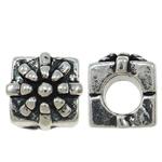 Beads European aliazh zink, Alloy zink, Kub, Ngjyra antike argjendi praruar, pa karrem, asnjë, , nikel çojë \x26amp; kadmium falas, 10x9x11mm, : 5mm, 10PC/Qese,  Qese