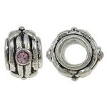 Beads European aliazh zink, Alloy zink, Daulle, Ngjyra antike argjendi praruar, pa karrem & me diamant i rremë, asnjë, , nikel çojë \x26amp; kadmium falas, 12x8mm, : 5mm, 10PC/Qese,  Qese