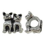 Beads European aliazh zink, Alloy zink, Mace, Ngjyra antike argjendi praruar, pa karrem, asnjë, , nikel çojë \x26amp; kadmium falas, 13x13x9.50mm, : 5mm, 10PC/Qese,  Qese