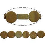 Holzmaserung Stein Perlen, Grain Stein, Münze, 8x8x4mm, Bohrung:ca. 1mm, ca. 48PCs/Strang, verkauft per ca. 15.5 ZollInch Strang