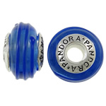 Lampwork Style European, Rondelle, punuar me dorë, core cupronickel vetme me karrem, blu, 15x9mm, : 4.5mm, 10PC/Qese,  Qese