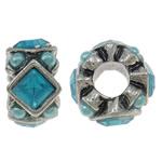 Beads European aliazh zink, Alloy zink, with Xham, Rondelle, Ngjyra antike argjendi praruar, pa karrem, asnjë, , nikel çojë \x26amp; kadmium falas, 13x7mm, : 4.5mm, 10PC/Qese,  Qese