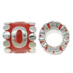 Beads European aliazh zink, Alloy zink, Tub, Ngjyra argjend praruar, pa karrem & smalt, asnjë, , nikel çojë \x26amp; kadmium falas, 9x9mm, : 4.5mm, 10PC/Qese,  Qese