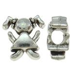 Beads European aliazh zink, Alloy zink, Vajzë, Ngjyra antike argjendi praruar, pa karrem, asnjë, , nikel çojë \x26amp; kadmium falas, 13.50x14x17.50mm, : 4.5mm, 10PC/Qese,  Qese