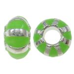 Beads European aliazh zink, Alloy zink, Rondelle, Ngjyra argjend praruar, pa karrem & smalt, asnjë, , nikel çojë \x26amp; kadmium falas, 12x7mm, : 4.5mm, 10PC/Qese,  Qese
