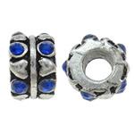 Beads European aliazh zink, Alloy zink, Kolonë, Ngjyra antike argjendi praruar, pa karrem & me diamant i rremë, asnjë, , nikel çojë \x26amp; kadmium falas, 10x7mm, : 4.5mm, 10PC/Qese,  Qese