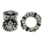 Beads European aliazh zink, Alloy zink, Daulle, Ngjyra antike argjendi praruar, pa karrem & me diamant i rremë, asnjë, , nikel çojë \x26amp; kadmium falas, 10x6.5mm, : 4.5mm, 10PC/Qese,  Qese