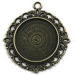Zink Alloy varëse Setting, Alloy zink, Lule, Ngjyra antike bronz i praruar, asnjë, asnjë, , nikel çojë \x26amp; kadmium falas, 40x40mm, : 2mm, : 25mm, 80PC/Qese,  Qese
