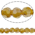 Beads Round Crystal, Kristal, Ngjyra AB kromuar, faceted & imitim kristal Swarovski, Lt Topaz, 6mm, : 1mm, : 19.6Inç, 10Fillesat/Qese, approx100Pcs/Strand,  Qese