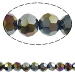 Beads Round Crystal, Kristal, Ngjyra AB kromuar, faceted & imitim kristal Swarovski, Reaktiv, 6mm, : 1mm, : 20.8Inç, 10Fillesat/Qese, approx100Pcs/Strand,  Qese