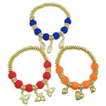 CCB Acrylic Bracelets, frosted & fluorescent, gold color plated, mixed, 12mm, Approx 12Strands/Bag, Length:7.5 Inch, Sold by Bag