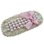 Glass Pearl, with Saten Ribbon & Cord najlon, Oval Flat, asnjë, asnjë, rozë, 83x39mm, 40PC/Shumë,  Shumë
