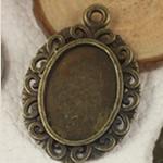 Zink Alloy varëse Setting, Alloy zink, Oval Flat, Ngjyra antike bronz i praruar, asnjë, asnjë, , nikel çojë \x26amp; kadmium falas, 33x30mm, : 2mm, : 13x18mm, 300PC/Qese,  Qese